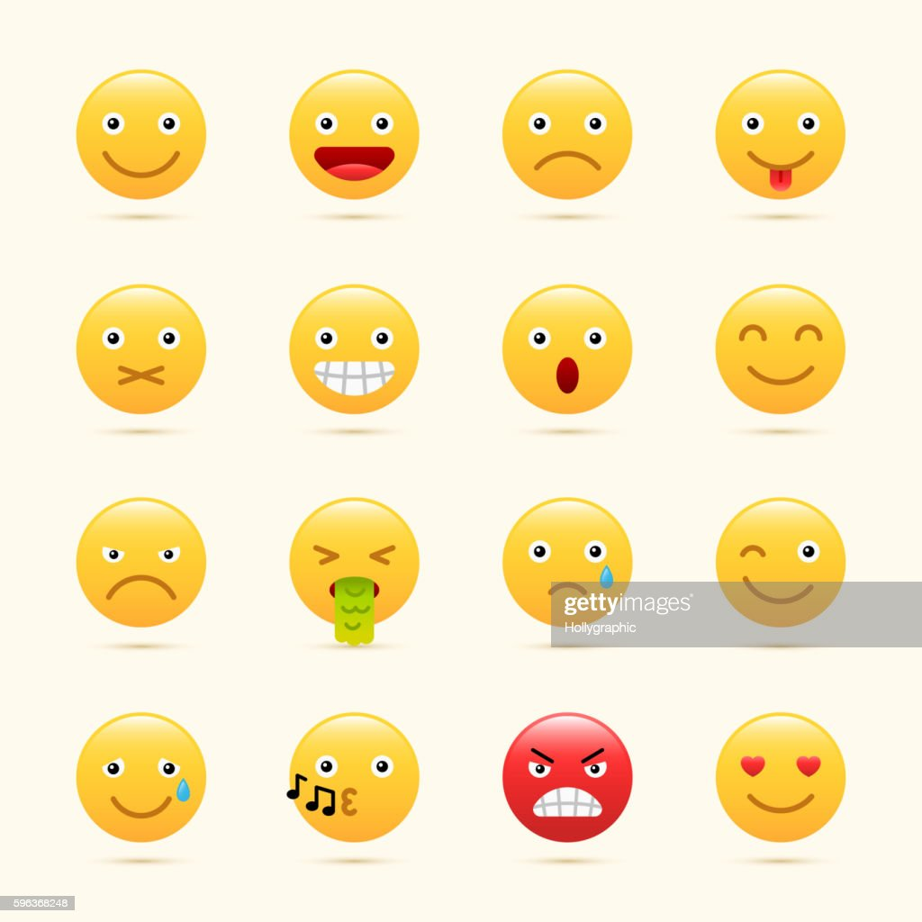 Emoticons set, yellow website emoticons