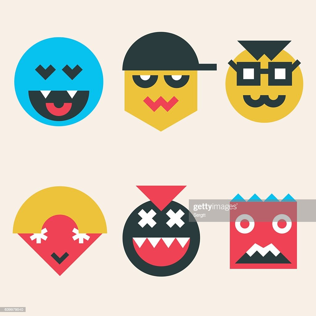 Emoticons, smile face icons make from simple geometric shapes