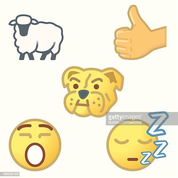 emoticons - sheep stock illustrations, clip art, cartoons, & icons