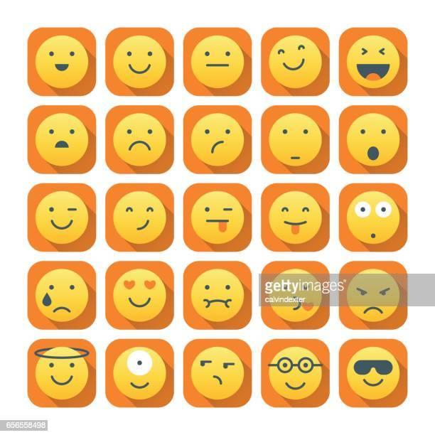 emoticons mit langen schatten set 1 - ausdruckslos stock-grafiken, -clipart, -cartoons und -symbole