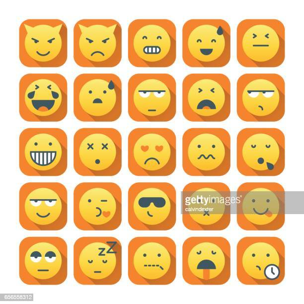 Emoticons with long shadow set 2