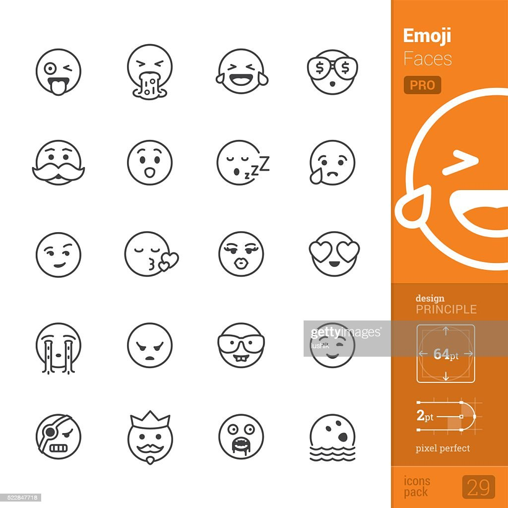 Emotion face vector icons - PRO pack : stock illustration