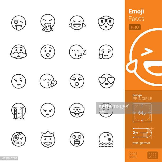 emotion face vector icons - pro pack - vomit stock illustrations