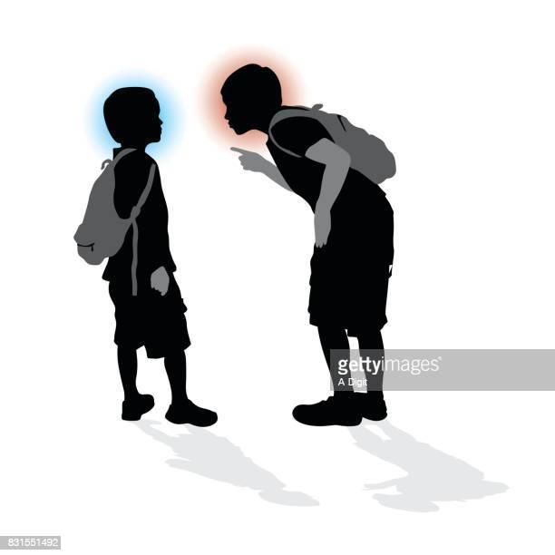 ilustraciones, imágenes clip art, dibujos animados e iconos de stock de niños de la escuela de emoción - bullying