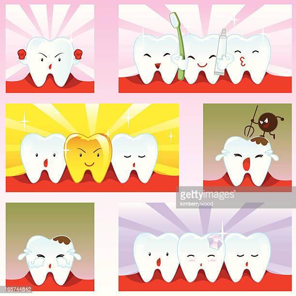 ilustraciones, imágenes clip art, dibujos animados e iconos de stock de emoción dientes carácter - dolor de muelas