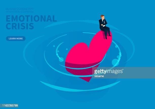 emotional and trust crisis, businessman desperately sitting on the falling into the water - distraught stock illustrations