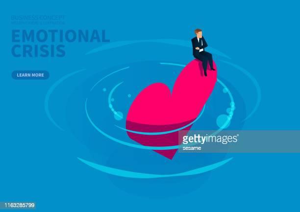 ilustraciones, imágenes clip art, dibujos animados e iconos de stock de crisis emocional y de confianza, hombre de negocios sentado desesperadamente en la caída en el agua - autismo