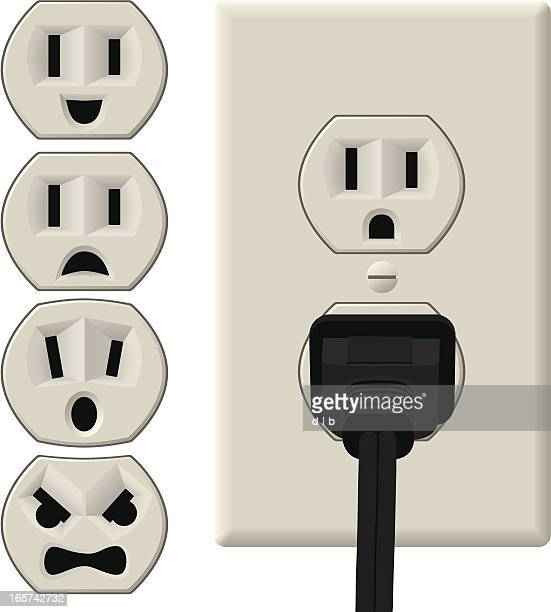 emotional power outlets - electric plug stock illustrations