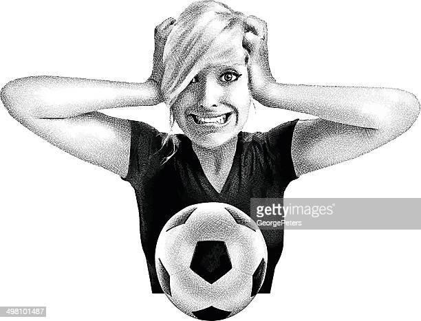ilustraciones, imágenes clip art, dibujos animados e iconos de stock de emocional de fútbol - tirarse de los pelos