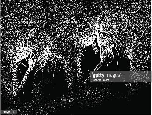 emotional stress and worry - horn rimmed glasses stock illustrations, clip art, cartoons, & icons