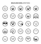 Emotions, bold line icons