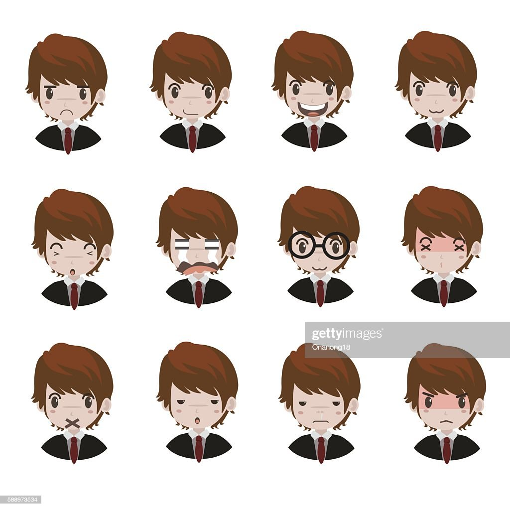 emotions faces vector characters.