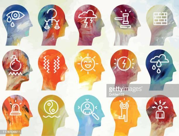 emotions line icons set light background - ignoring stock illustrations, clip art, cartoons, & icons