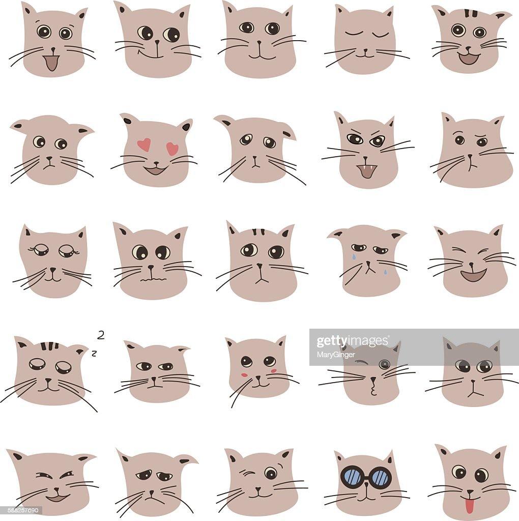 emotions of cute cartoon cat