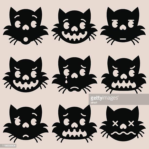 emotions of kitty blackskull - bad luck stock illustrations, clip art, cartoons, & icons
