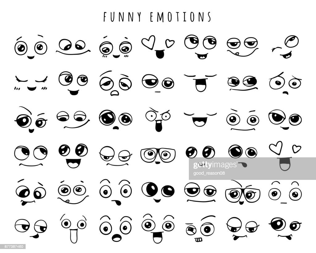 Emotions. Set of doodle faces. Smile.