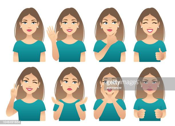 emotions - young women stock illustrations