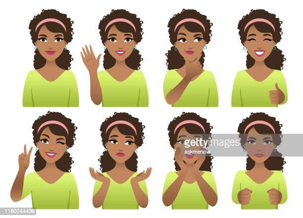 ilustraciones, imágenes clip art, dibujos animados e iconos de stock de emociones - africano americano