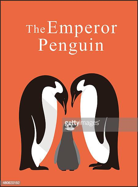 emperor penguin family love each other deeply, vector - royal penguin stock illustrations