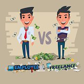 employee and freelance. character design - vector
