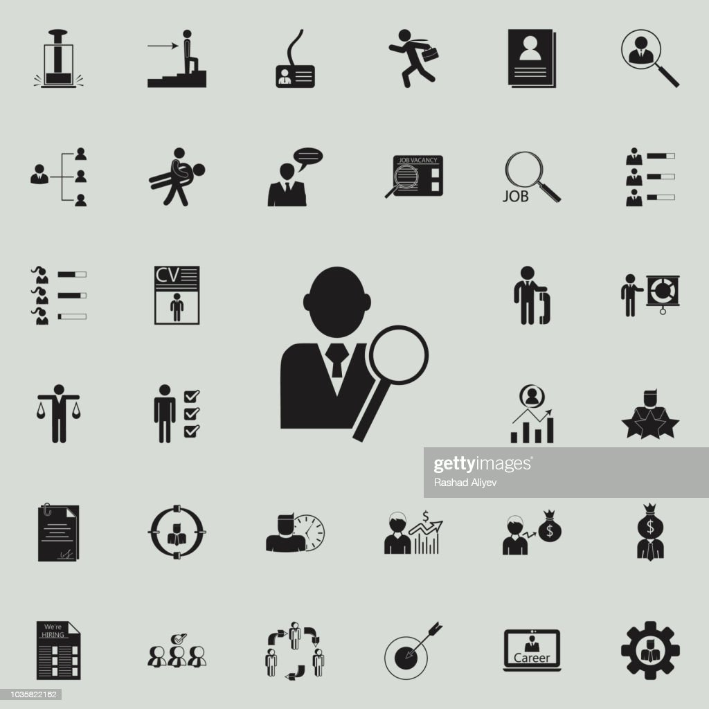 employee and magnifiericon. HR & Heat hunting icons universal set for web and mobile