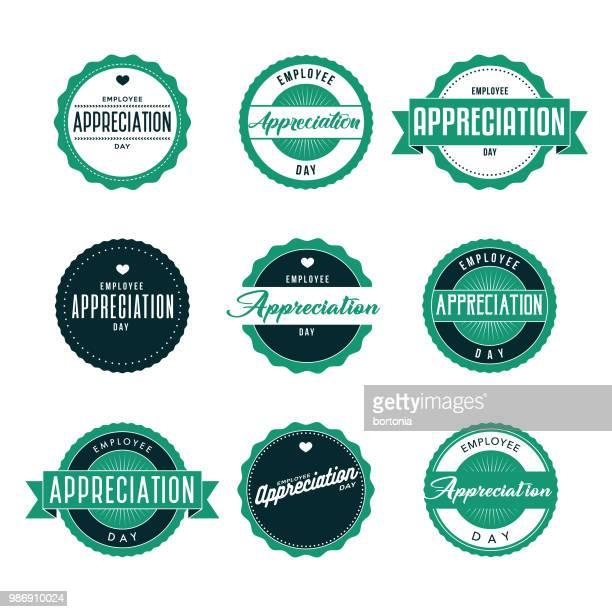 ilustraciones, imágenes clip art, dibujos animados e iconos de stock de empleado reconocimiento día icon set - gracias por su atencion