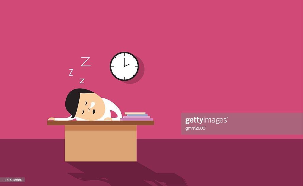 Employee asleep on desk vector illustration background