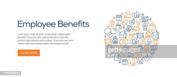 employee benefits banner template with line icons. modern vector illustration for advertisement, header, website. - charity benefit stock illustrations