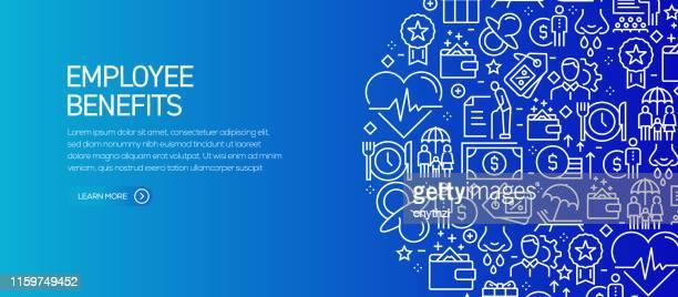 mitarbeiter-vorteile banner-vorlage mit linien-icons. moderne vektor-illustration für werbung, header, website. - employee stock-grafiken, -clipart, -cartoons und -symbole