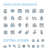 Employee Benefits Color Thin Line Icon Set