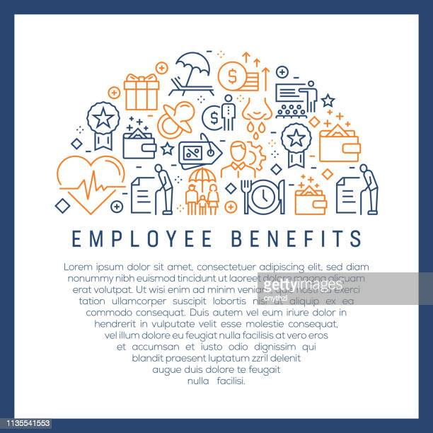 employee benefits concept - colorful line icons, arranged in circle - benefits stock illustrations
