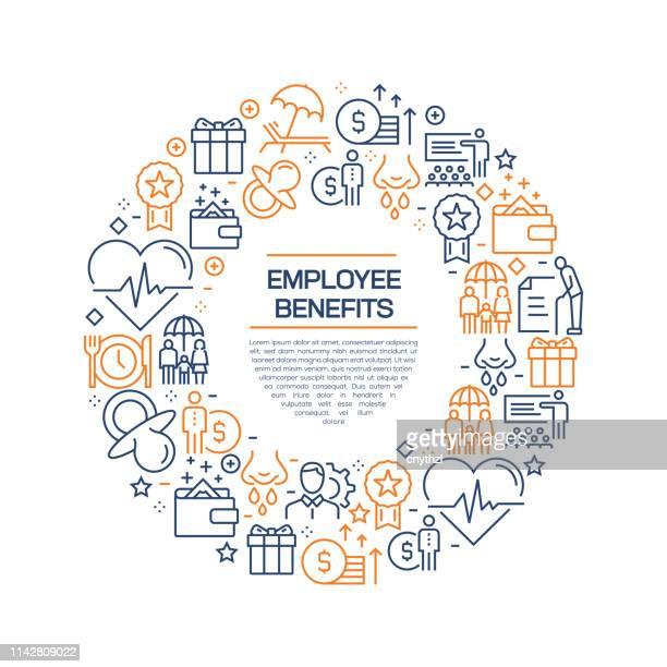 illustrazioni stock, clip art, cartoni animati e icone di tendenza di concetto di vantaggi per i dipendenti - icone di linea colorate, disposte in cerchio - organizzazioni aziendali