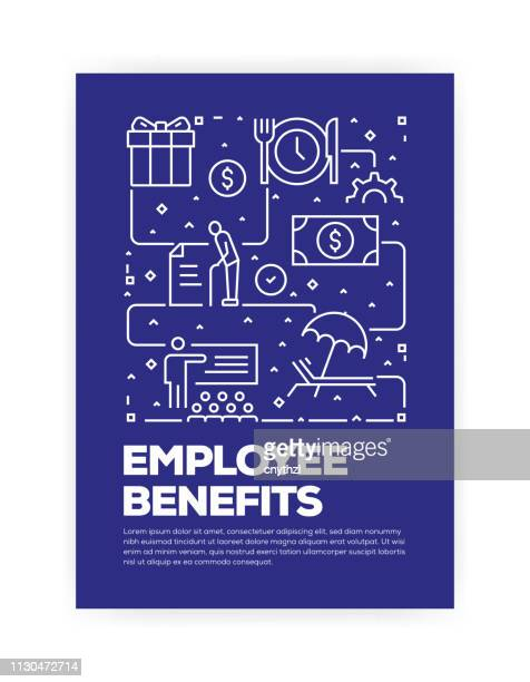 mitarbeiter nutzen konzept line style cover-design für jährliche bericht, flyer, broschüre. - zwischenbericht stock-grafiken, -clipart, -cartoons und -symbole
