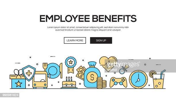 employee benefits flat line web banner design - charity benefit stock illustrations