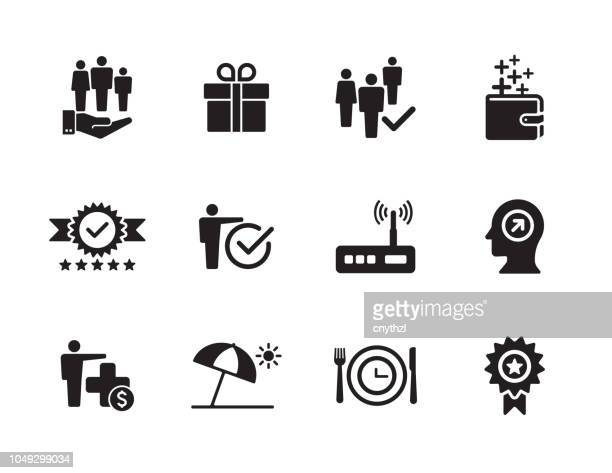 employee benefits icon set - incentive stock illustrations, clip art, cartoons, & icons
