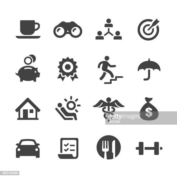 employee benefits icons - acme series - lunch break stock illustrations, clip art, cartoons, & icons