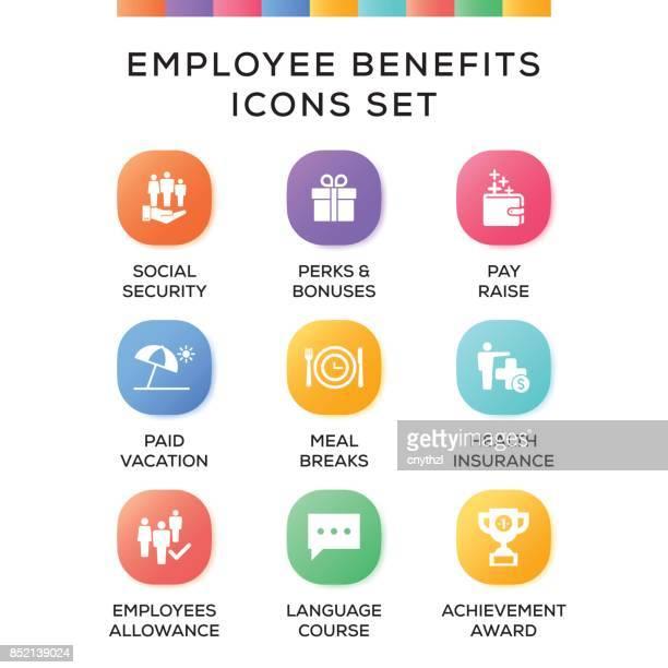 ilustrações, clipart, desenhos animados e ícones de conjunto de ícones de benefícios de empregado em fundo gradiente - bônus