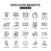 Employee Benefits Line Icon Set