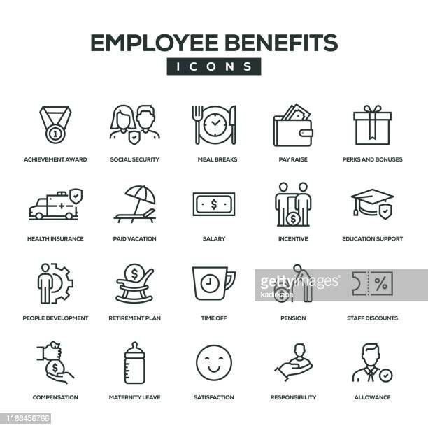 employee benefits line icon set - employee stock illustrations