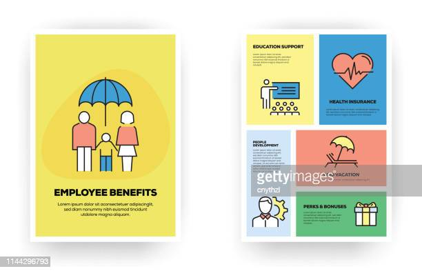 employee benefits related infographic - charity benefit stock illustrations