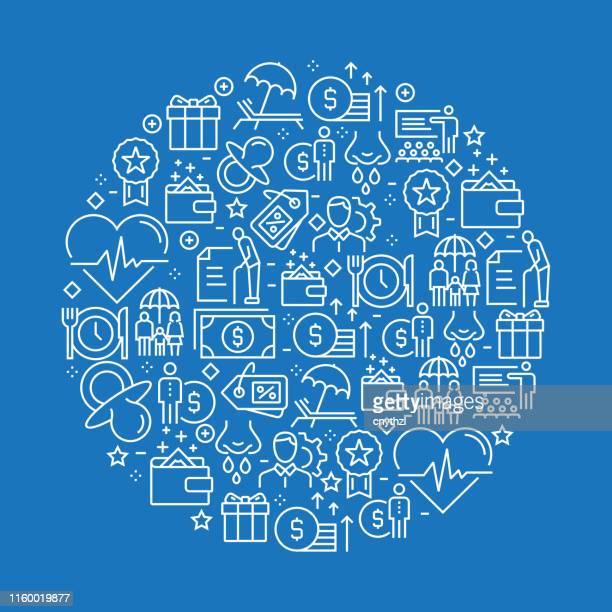 mitarbeiter-vorteile im zusammenhang mit musterdesign - benefiz veranstaltung stock-grafiken, -clipart, -cartoons und -symbole