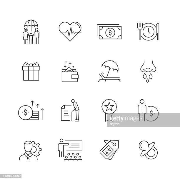 ilustrações, clipart, desenhos animados e ícones de benefícios do empregado-jogo de linha fina ícones do vetor - bônus
