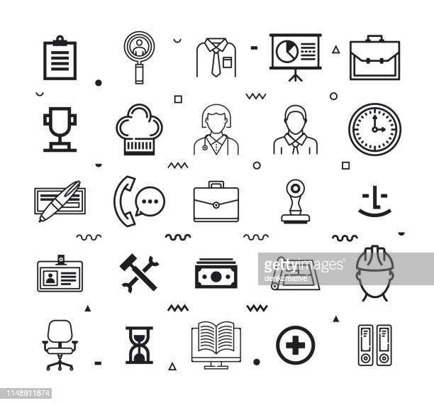 Employee Engagement Line Style Vector Icon Set