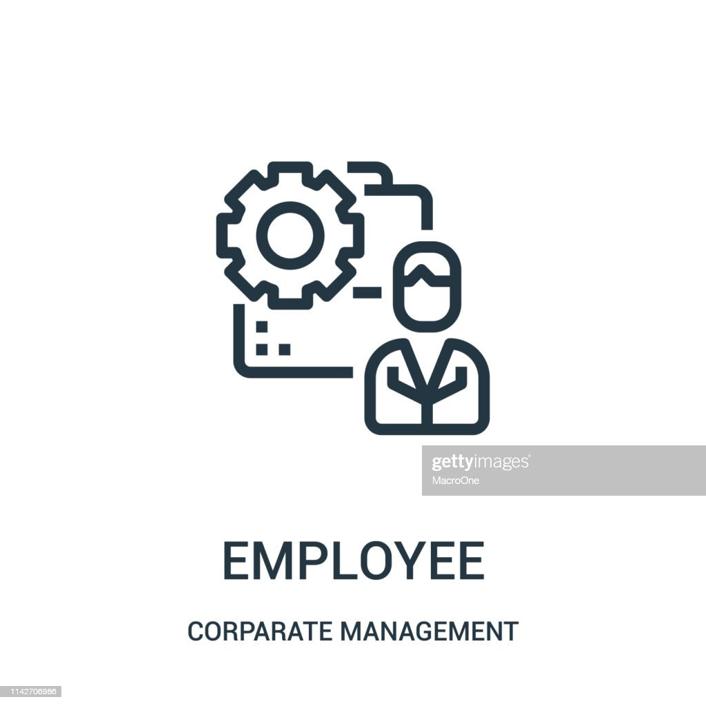 employee icon vector from corparate management collection. Thin line employee outline icon vector illustration. Linear symbol for use on web and mobile apps, logo, print media.