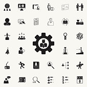 employee in gearicon. HR & Heat hunting icons universal set for web and mobile
