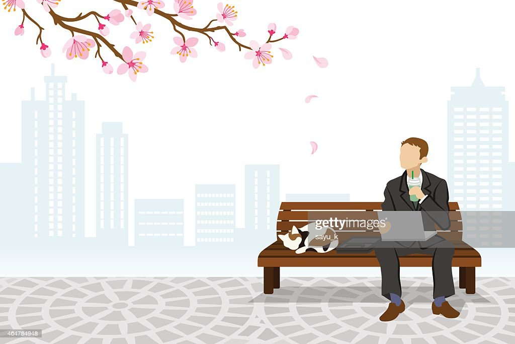 Employee sitting on a bench Spring Time -EPS10