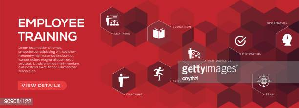 mitarbeiter-training-banner-design - internet konferenz stock-grafiken, -clipart, -cartoons und -symbole