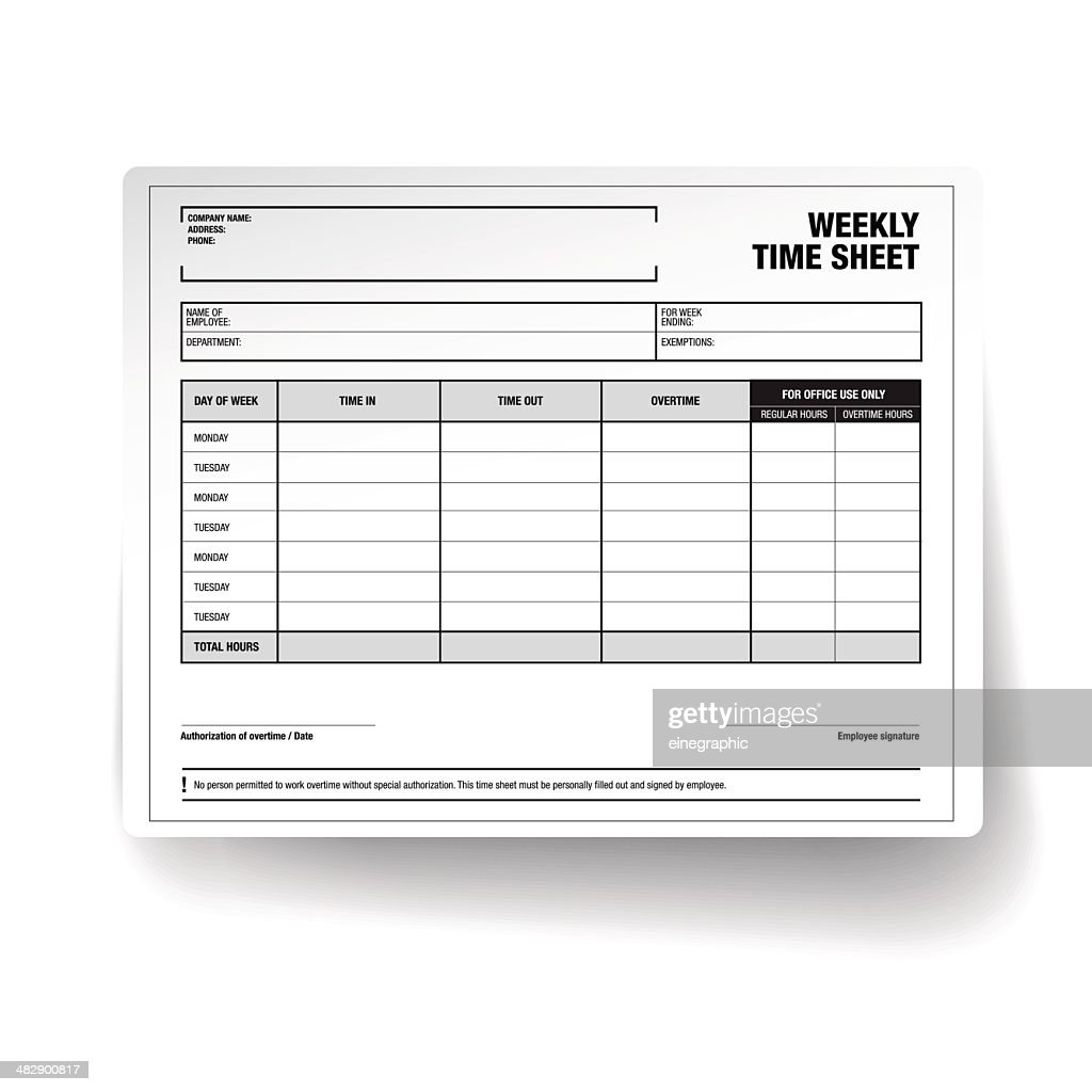 Employee Weekly Time Sheet Template Vector Art Getty Images