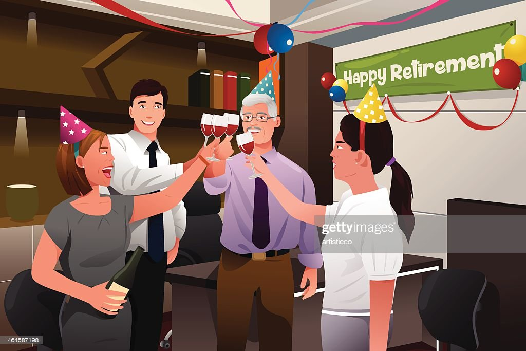 Employees in the office celebrating a happy retirement party of