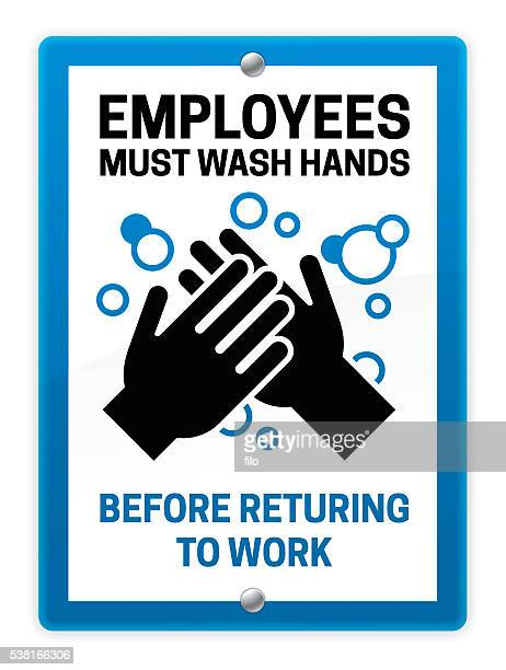 employees must wash hands sign - washing hands stock illustrations